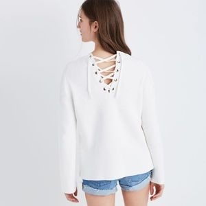 Madewell laced back sweater bell sleeve pullover